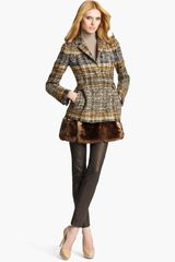 Blumarine Tweed Coat with Removable Faux Fur Hem