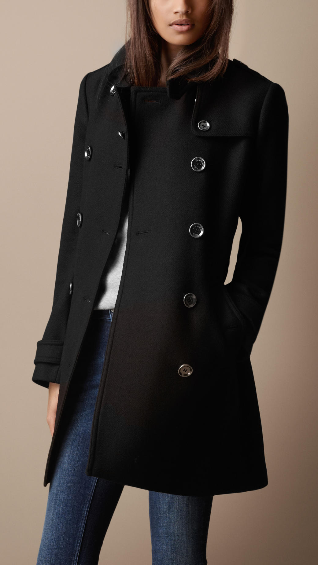 burberry brit midlength wool twill trench coat in black lyst. Black Bedroom Furniture Sets. Home Design Ideas