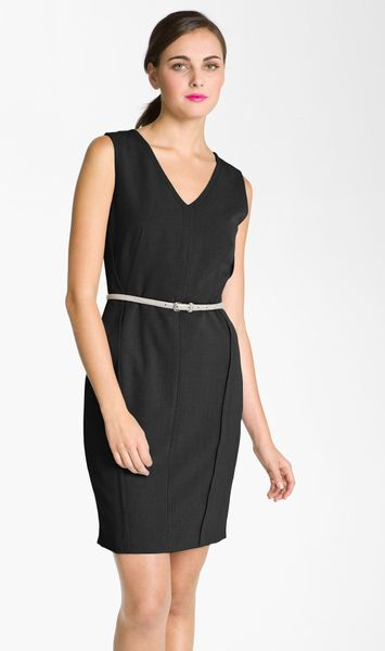 Calvin Klein VNeck Belted Sheath Dress in Black - Lyst