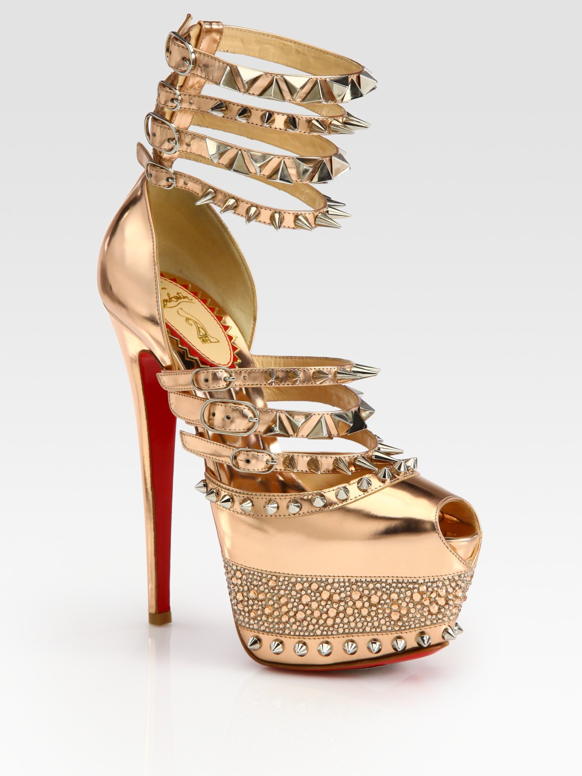 Lyst - Christian Louboutin Isolde Studded Metallic Leather Platform ... 27101a74c