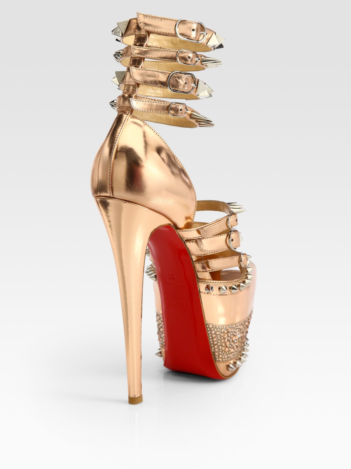 red bottom shoes for men - Christian louboutin Isolde Studded Metallic Leather Platform ...