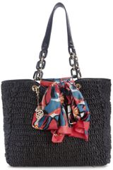 Dkny Straw Shopper With Scarf in Black (black/evan) - Lyst