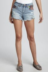 Free People Fiesta Tribal Ripped Cutoff Shorts - Lyst