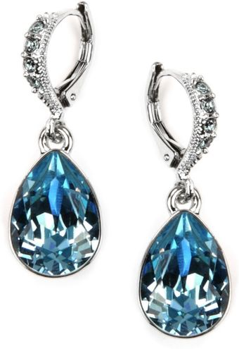 Givenchy Silver Tone Aqua and Sapphire Crystal Teardrop Earrings - Lyst