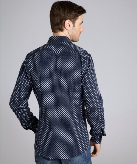 Blue Polka Dot Shirt Men Men Gucci Blue Polka Dot