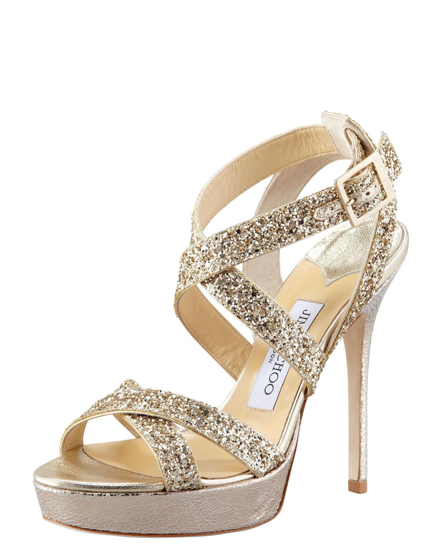 Jimmy choo Vamp Glitterstrap Sandal in Metallic