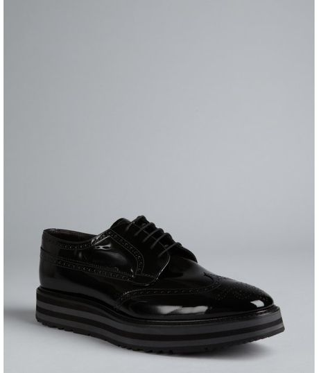 Prada Fumo Patent Leather Platform Wingtip Oxfords in Black for Men (smoke) - Lyst