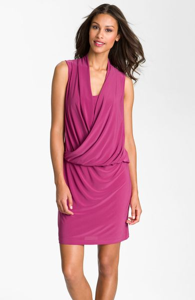 Taylor Dresses Surplice Blouson Jersey Dress in Pink (raspberry) - Lyst