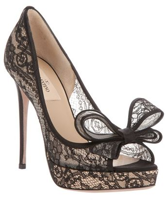Valentino Lace Peep-Toe Pumps - Lyst