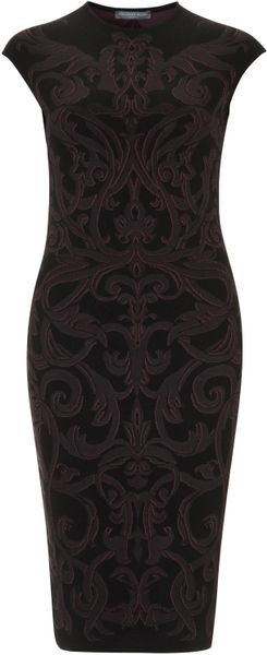 Alexander Mcqueen Dark Purple Cap Sleeve Jacquard Dress in Purple - Lyst