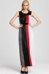 Bcbgmaxazria Color Block Gown Pleated in Black (black combo) - Lyst
