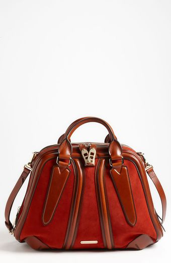 Burberry  Suede Leather Bowling Bag - Lyst
