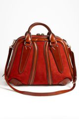 Burberry  Suede Leather Bowling Bag in Brown (rust) - Lyst
