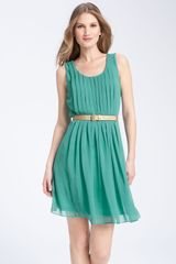 Calvin Klein Belted Chiffon Dress - Lyst