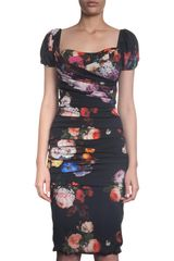 Dolce & Gabbana Flower Print Cap Sleeve Dress in Black (floral) - Lyst