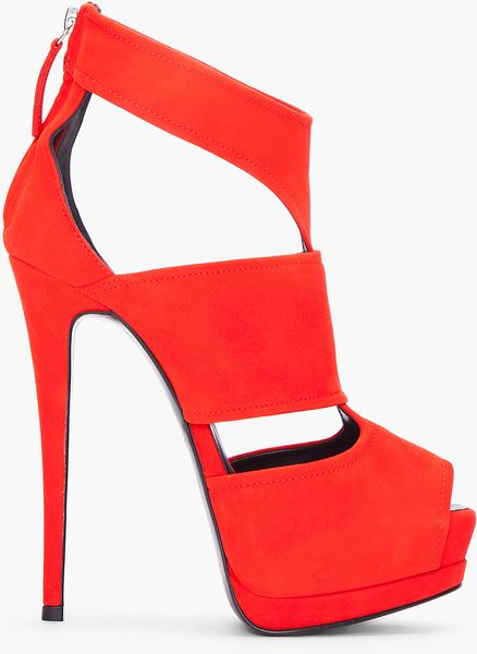 Giuseppe Zanotti Red Suede Sharon Pumps in Red - Lyst