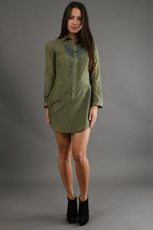 Jenny Han Pintuck Shirt Dress in Herb - Lyst