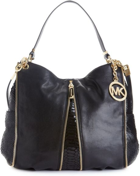 Michael Kors Newman Medium Shoulder Bag In Black Black