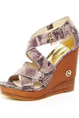 Michael Kors Belinda Python-Embossed Leather Cross Strap Sandal - Lyst