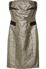 See By Chloé Strapless Metallic Cottonblend Dress - Lyst