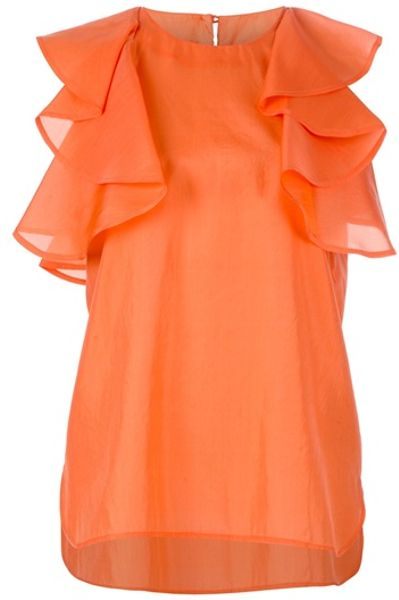 See By Chloé Ruffle Blouse in Orange | Lyst Ruffled Top