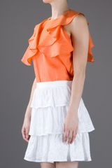 See By Chloé Ruffle Blouse in Orange - Lyst