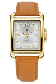 Tommy Hilfiger Womens Tan Leather Strap Watch  - Lyst