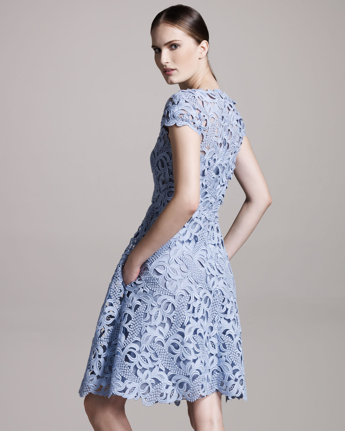 Lace cap sleeve dress blue