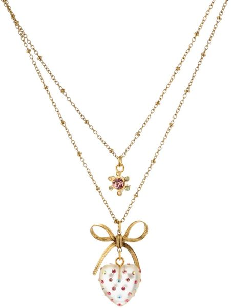 Betsey Johnson Double Row Clear Heart and Bow Pendant in Silver - Lyst