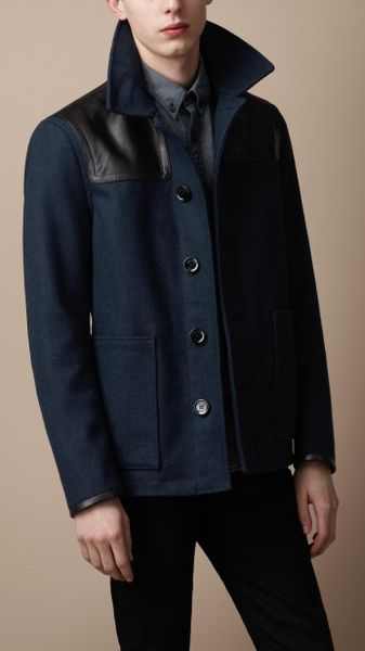 Burberry Brit Leather Detail Wool Blend Coat in Blue for Men (navy)