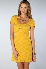 Free People The Daisy Godet Dress in Mustard - Lyst