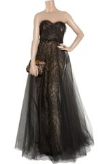 Marchesa Strapless Tulle and Lace Gown in Black - Lyst