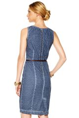 Michael By Michael Kors Pleated Eyelet Dress in Blue (washed indigo) - Lyst