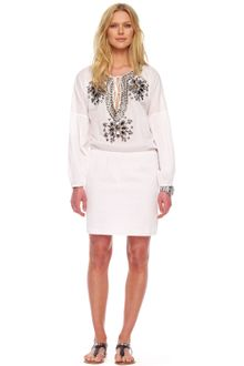 Michael by Michael Kors Embellished Peasant Dress - Lyst