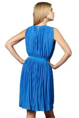 Tibi Pleated Jersey Dress in Blue (cobalt) - Lyst