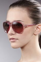 Tory Burch Clear Enamel Aviator Sunglasses Pink - Lyst