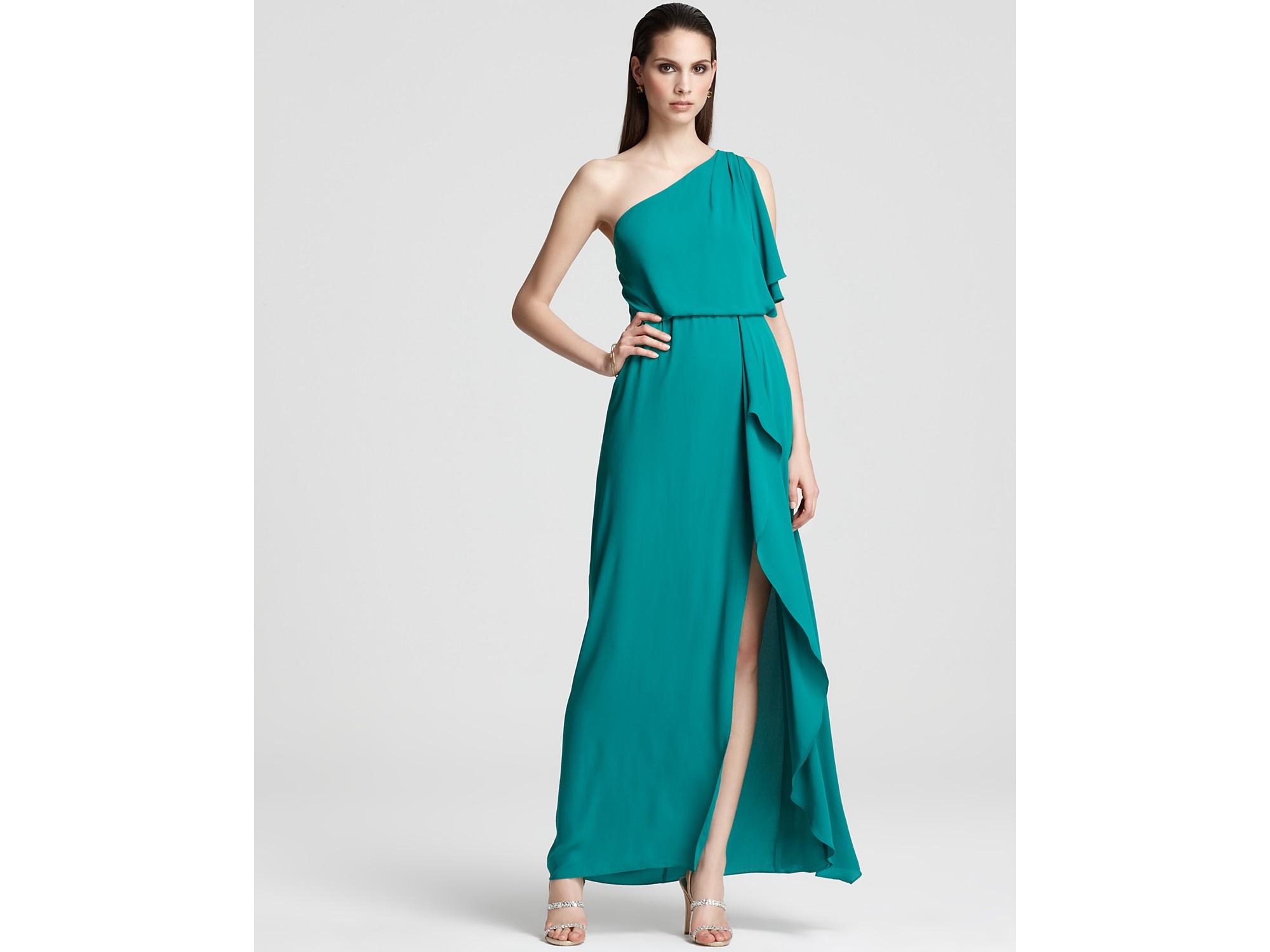 ce6b366d90 BCBGMAXAZRIA One Shoulder Gown Kendal Ruffle in Green - Lyst