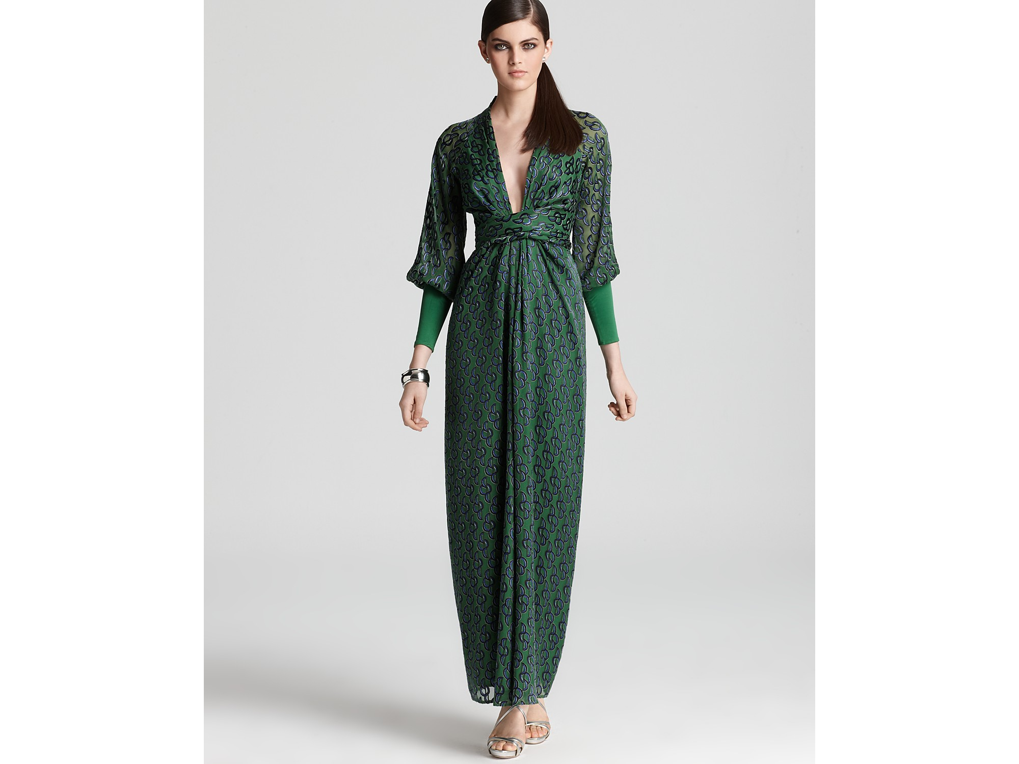 Issa Maxi Dress Long Sleeve V Neck In Green Lyst
