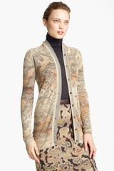 Missoni Long Pointelle Cardigan in Gray (khaki multi) - Lyst