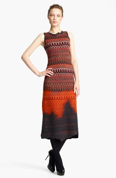 Missoni Knit Midi Dress in Red (red grey) - Lyst