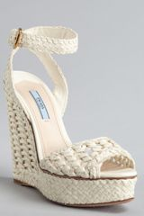 Prada Ivory Woven Leather Peep Toe Wedge Sandals in White (ivory) - Lyst