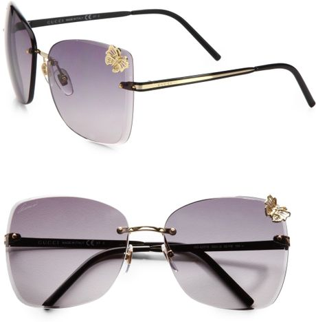 Gucci Rimless Butterfly Sunglasses in Gold Lyst