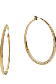 Michael Kors Shiny Pave Medium Hoop Earrings Golden - Lyst