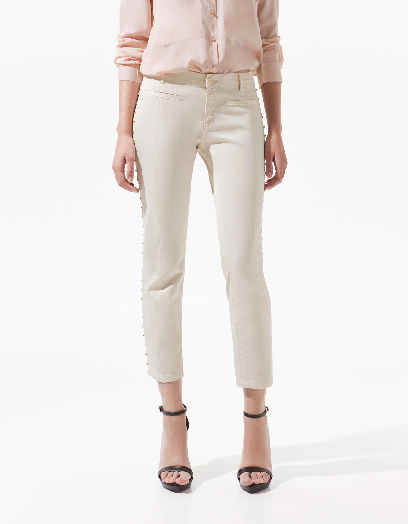Zara Studded Capri Pants with Piping in Natural | Lyst