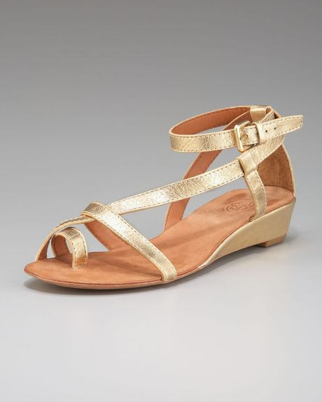 ash metallic toe ring low wedge sandal in gold lyst