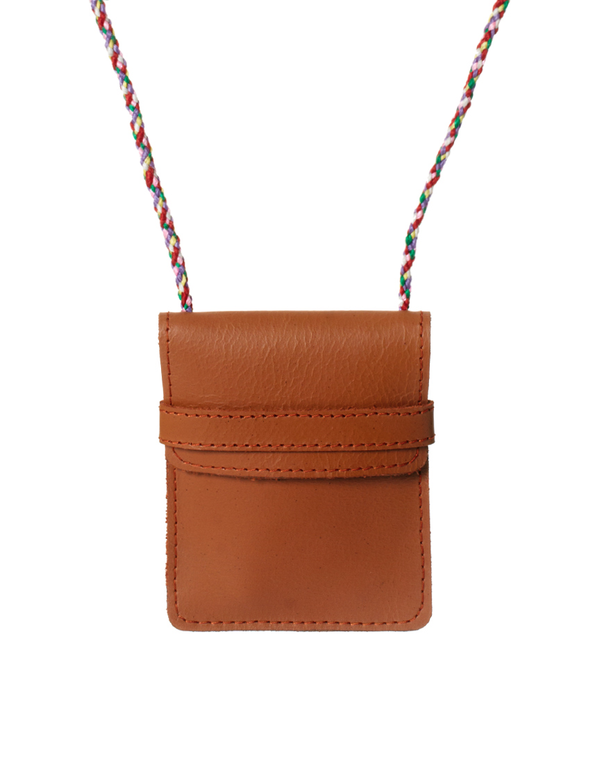 Asos Leather Pouch Necklace In Brown For Men Tan Lyst
