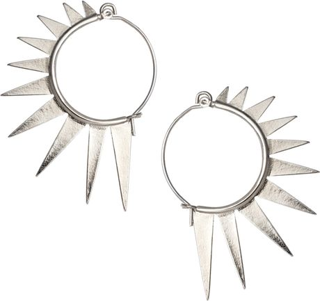 Asos Spiked Hoop Earrings in Silver (rhodium) - Lyst