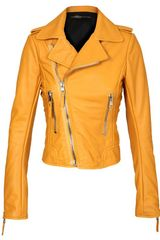 Balenciaga Leather Biker Jacket in Yellow (mustard) - Lyst