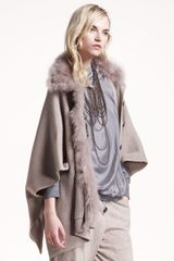 Brunello Cucinelli Shearling Trim Ribbed Coat - Lyst