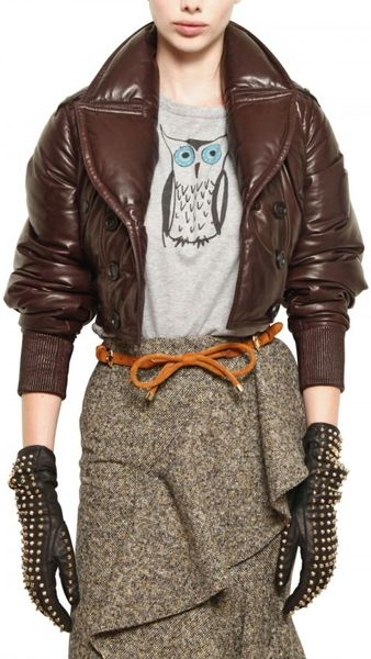 Burberry Prorsum Nappa Leather Bomber Jacket In Brown Lyst